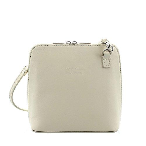 IO.IO.MIO Leder Schultertasche Damen Umhängetasche Handtasche Tasche klein & leicht creme (Handtasche Creme)