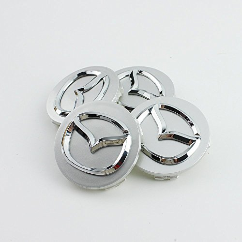 Lot de 4 capuchons de jantes - Alliage chromé - 4 x 56 mm - Logo Mazda Argent