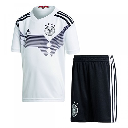 adidas D04268Children's German National Team Football Minikit WM 2018Home Jersey & Shorts, Children's, DFB Heim Minikit WM 2018, white/black, 110