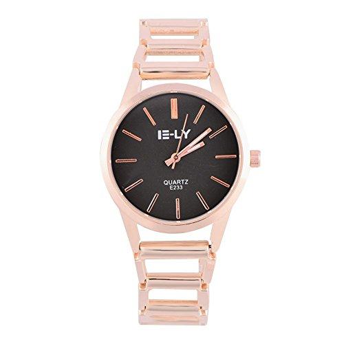 Montres pour les femmes, montre-bracelet de montre de bracelet d'analogue de quartz rond analogue de quartz femelle(Black Dial)