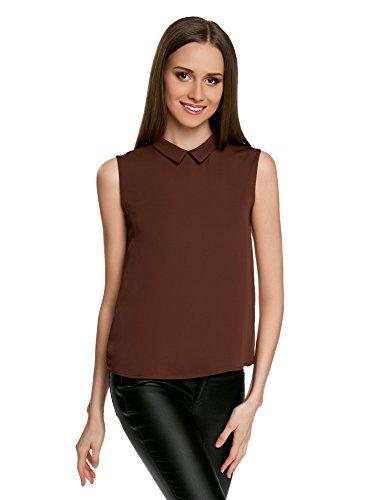 oodji Ultra Damen Ärmellose Bluse Basic mit Kragen, Braun, DE 42 / EU 44 / XL