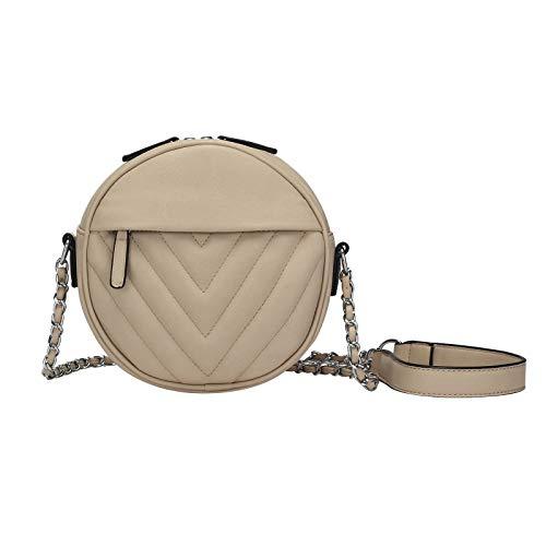 Print Hobo Bag Handtasche (OBC Damen Tasche Handtasche Schultertasche Kettengurt V-Print Umhängetasche Handytasche Cross-Over kleine Clutch Beige)