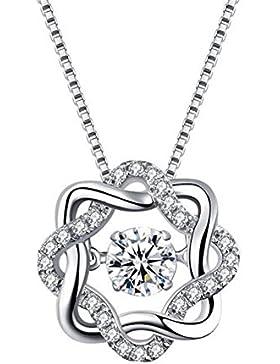 Double.Q Kette Damen Schmuck Anhänger 925 Sterling Silber Halskette mit Zirkonia Stein Kettenlänge 45cm und Schmucketui