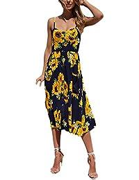 0c6f7603298190 Targogo Vestiti Donna Estivi Mare Spaghetti Strap Senza Spalline Senza  Schienale Elegante Mid Lunghezza Abbigliamento Dresses