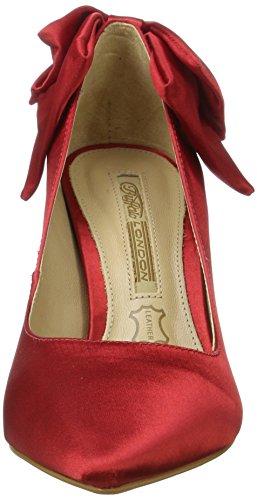 Buffalo London Zs 7794-16 Tecido Cetim, Scarpe con Tacco Donna Rosso (Red)
