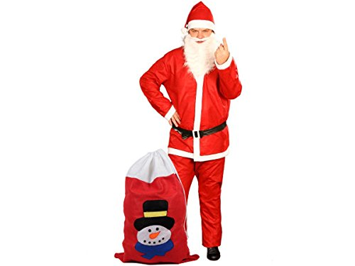 Weihnachtskostüm Nikolauskostüm komplett mit Bart & Geschenksack, Weihnachtsmannkostüm Santa Claus Kostüm, One Size - Modell: KV-73c von (Bart Claus Santa)