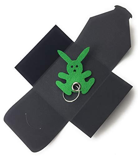 Schlüsselanhänger aus Filz - Hase - Freude/Ostern - Hase in grün/Gras-grün - als besonderes Geschenk mit Öse und Schlüsselring - Made-in-Germany