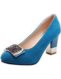VogueZone009 Donna Pelle di Mucca Tacco Alto Punta Tonda Tirare Ballet-Flats 7498364eb5e