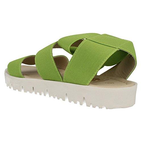 Ladies Down To Earth Sandales plates F10406 élastique Vert - vert