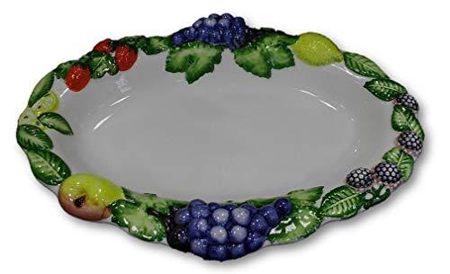 Bassano italienische Relief Keramik Schale Schüssel oval Obst 36 cm NEU -
