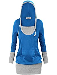 DJT Femme Sweat-shirt a capuche Manches Longues Pull-over Tunique hoodie Long