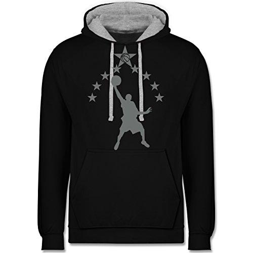 Basketball - Basketball - Kontrast Hoodie Schwarz/Grau Meliert