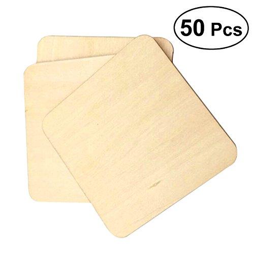 Unvollendete Holz Schreibtisch (LIOOBO 50 Stücke 5x5 cm Holz Tasse Bahn unvollendete Holz Tasse bahnen für Home küche Schreibtisch)