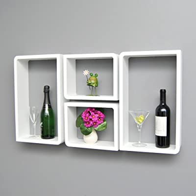 4 set lounge cube trend shelf board in the retro design of the 70 years hanging shelf wall shelf white with 2 round and 2 rectangular corners