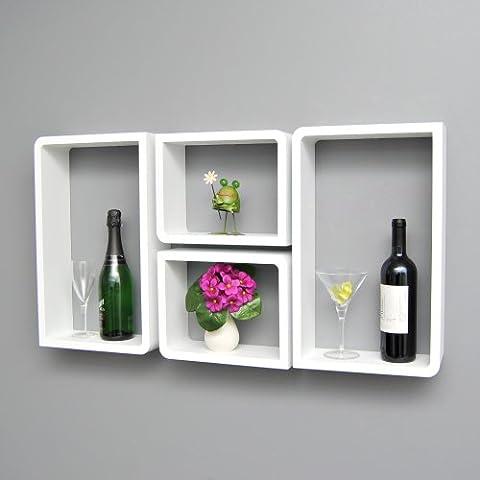 Kit de 4 estanterías con diseño de cubo blancas 2 con esquina redondas y 2 con forma rectangular