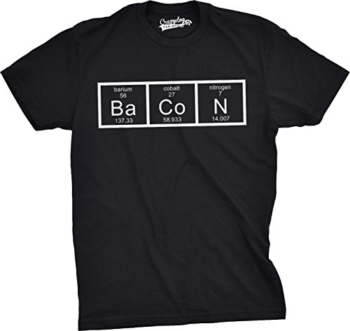 Crazy dog tshirts mens the chemistry of bacon t shirt funny brunch periodic table science tee (black) s - divertente uomo maglietta