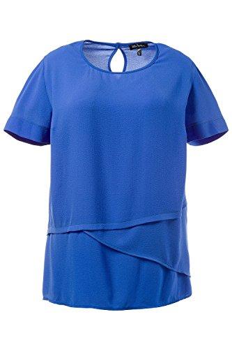 Ulla Popken Femme Grandes tailles Tunique voile superposition col rond manches courtes 710498 bleu océan