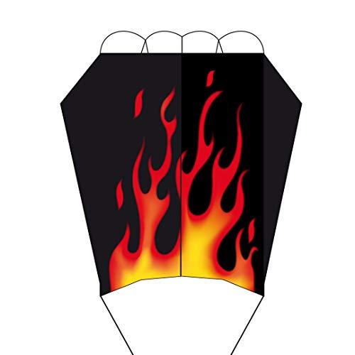 HQ 10671660 - Parafoil Easy Flame Kinderdrachen Einleiner, ab 5 Jahren, 56x35cm und 300 cm Fransenschwanz, inkl. 17kp Polyesterschnur 40m auf Spule, 2-6 Beaufort