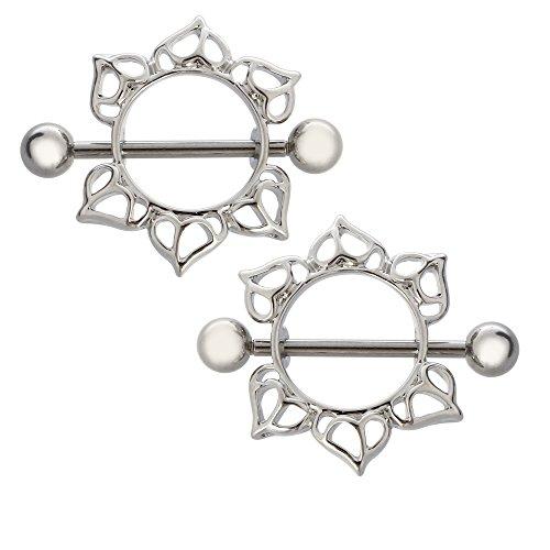 BODYA® - Piercing con barra circolare e anello per capezzoli, 1 paio in acciaio chirurgico, motivo floreale