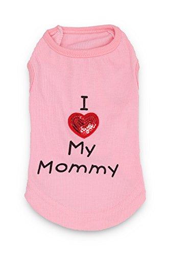 DroolingDog Haustier-Hundekleidung Ich Liebe Meine Mama-Hundehemd für kleine Hunde klein (3.3-5.5lb) rosa -