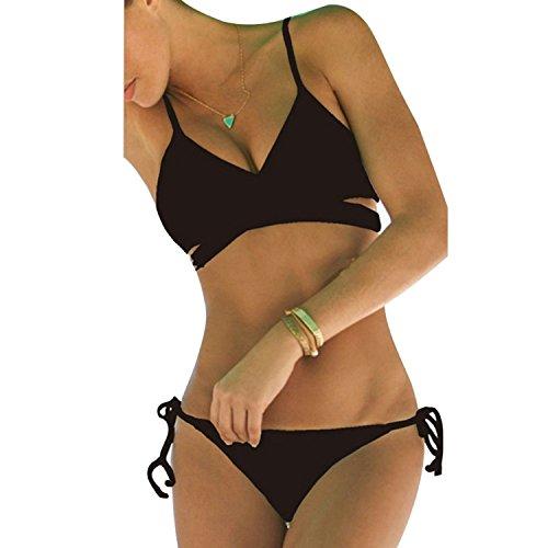 Damen Sport Freizeit Wassersport Schwimmen Push-up Bikini Sets Bademode Swimwear (M, Schwarz)