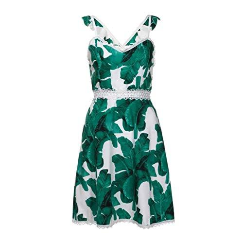 DELI Frauen Grüne Blätter Druck Kleid Strap Sommer Strand Dress Verband Zurück A-Linie Kleider -