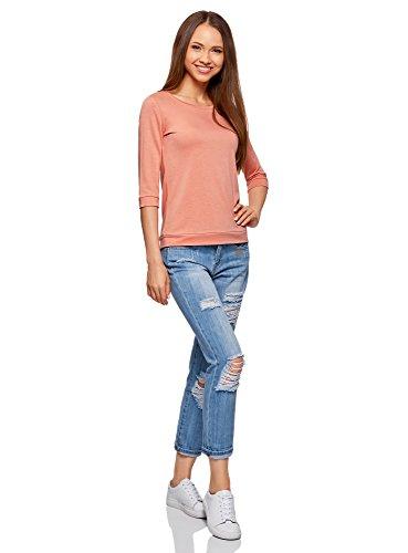 oodji Ultra Damen T-Shirt Basic mit 3/4-Ärmeln Rosa (4301N)