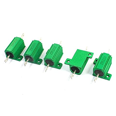25W 22 Ohm Chassis Mounted Aluminum Clad Wirewound Resistor Green 5Pcs