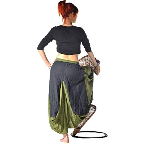 Rock Mittelalter Maxirock Hippie Goa Psy Strandrock Sommerrock Unterrock Gummizug Freizeit Jupe Color Grün, Size L/XL - 2