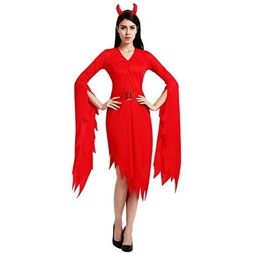 Kostüm Frau Teufel Klassischen - thematys Teufel Vampir Kostüm-Set für Damen - perfekt für Fasching, Karneval & Halloween - Einheitsgröße 160-180cm