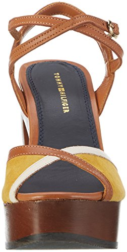 Tommy Hilfiger Damen P1285aige 1c Plateau Braun (Saddle-Yellow-WHISPER White 901)