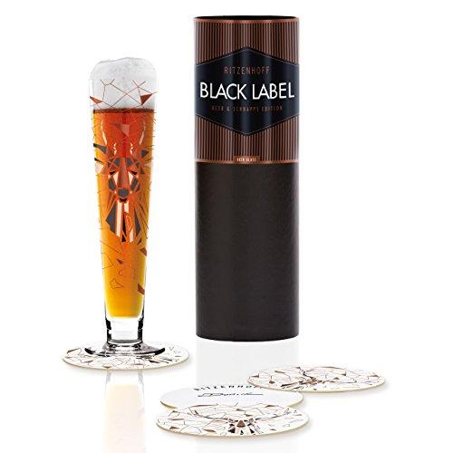 RITZENHOFF Black Label Bierglas von Kurz Kurz Design, aus Kristallglas, 300 ml, mit fünf Bierdeckeln