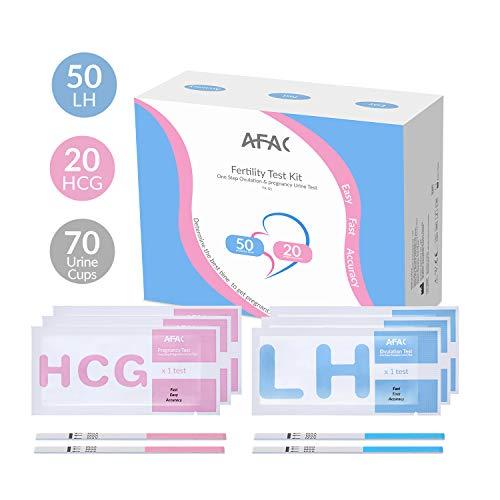 AFAC 50 Ovulationstest + 70 Urin Bechern + 20 Schwangerschaftstest, ß HCG Teststreifen und LH Teststreifen, Einzelner Aluminiumbeutel Verpackt