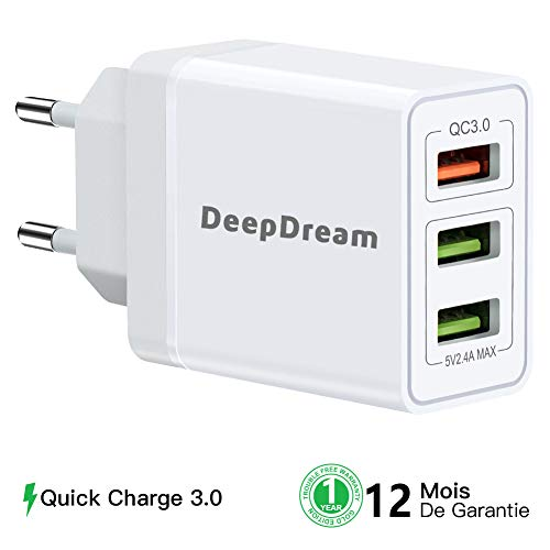 DeepDream Universel Chargeur USB, Quick Charge 3.0 Chargeur Secteur USB 3 Ports 30W Rapide Adaptateur Chargeur Mural pour iPhone, iPad, Samsung Galaxy, Huawei, LG, Moto etc.(Blanc)