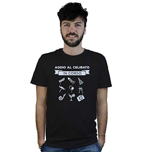T-shirt addio al celibato in corso, maglietta nera divertente, festa di matrimonio