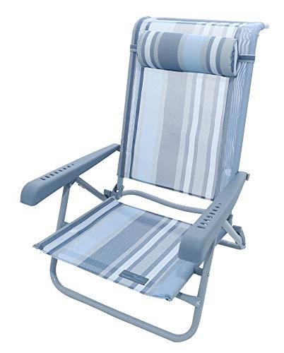 Meerweh Strandstuhl mit Verstellbarer Rückenlehne und Kopfpolster Klappstuhl Anglerstuhl Campingstuhl Marine/beige
