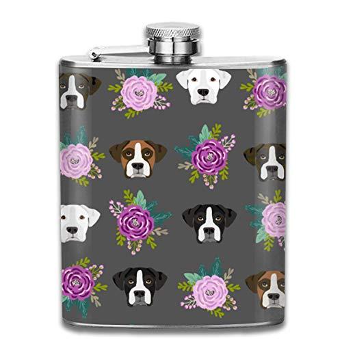flasks Stainless Steel Flasks 7 Oz Boxer Dogs Floral Whiskey Flask Hip Flask Leak Proof Wine Men Women - Floral Boxer