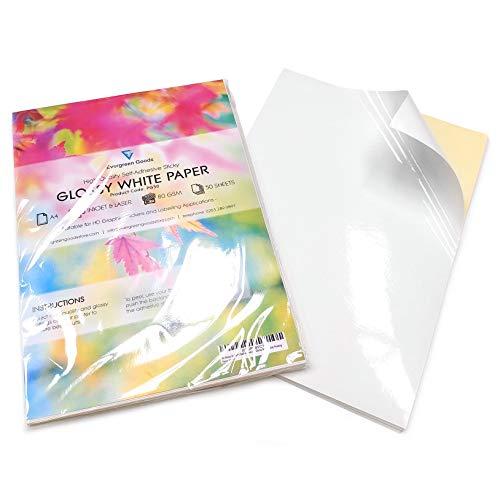 Fogli di carta adesiva per stampa etichette, formato A4, confezione da 50, colore bianco lucido