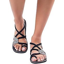 Sandalias Mujer Verano ❣JiaMeng Chanclas Sandalias Tejidas Correa Moda Playa Zapatillas (38, Blanco)