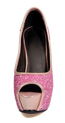 YE Damen Peep Toe High Heels Plateau Glitzer Pumps mit Pailletten Stilettos Party Hochzeit Schuhe Rosa