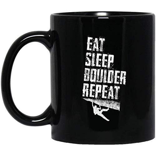 Funny Bouldering Free Rock Climbing Eat Sleep Boulder 11 oz. Black Mug -