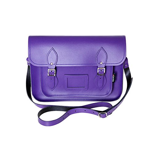 Zatchels Damen Leder-Schultertasche / Satchel mit Magnetverschluss und Tragegriff oben, handgefertigt in Großbritannien Violett