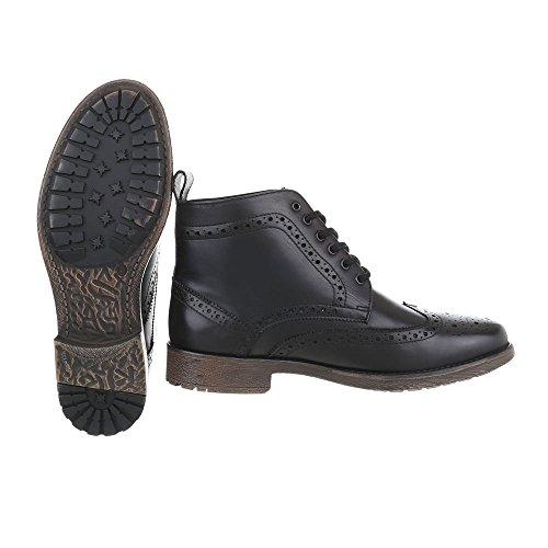 Stiefeletten Leder Herrenschuhe Chelsea Boots Blockabsatz Schnürer Schnürsenkel Ital-Design Boots Schwarz