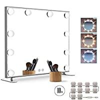Muro Hollywood Style Vanity Mirror Lights Kit, Adjustable Color and Brightness with 10 LED Light Bulbs, Lighting Fixture Strip for Makeup Vanity Table Set in Dressing Room (Mirror Not Include)