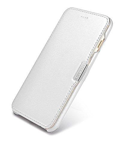 Luxus Tasche für Apple iPhone 8 Plus und iPhone 7 Plus (5.5 Zoll) / Case mit Echt-Leder Außenseite / Schutz-Hülle seitlich aufklappbar / ultra-slim Cover / Etui mit Textil-Innenseite / Farbe: Weiß - Bild 9