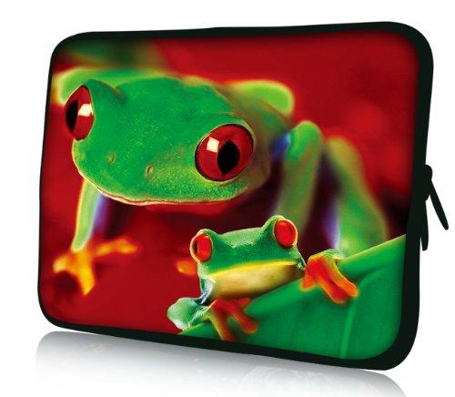 Luxburg® Design Laptoptasche Notebooktasche Sleeve für 10,2 Zoll (auch in 10,2 Zoll | 12,1 Zoll | 13,3 Zoll | 14,2 Zoll | 15,6 Zoll | 17,3 Zoll) , Motiv: Froschduo