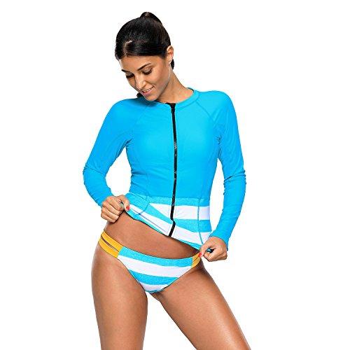Damen Rash Guard Bademode Sets Sport Badeanzug Langarm UV-Schutz Ausschlag Garde, Erwachsene Tankini für Schwimmen, Surfen, Tauchen,Small, Lc482