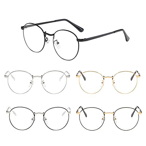 Deylaying Unisex Classic Metal Round Frame Glasses Nearsighted Myopia Eyeglasses Resin Clear Lenses -0.5~-6.0 (These are not reading glasses)
