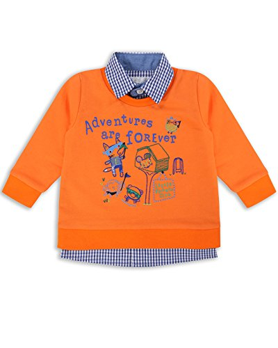 The Essential One - Baby Kids Boys Mock-Layer Jumper - Finley Fox - 3-6 M - Orange - EOT391