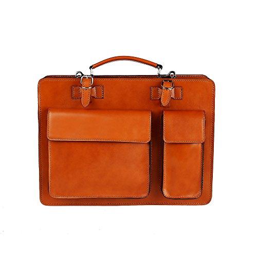 Chicca borse borsa a mano portadocumenti da lavoro uomo donna con tracolla in vera pelle made in italy 38x29x11 cm